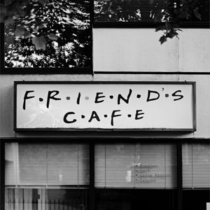 Preview wallpaper cafe, signboard, bw, friends