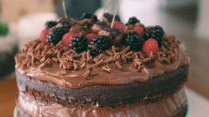 Preview wallpaper cake, chocolate, berries, dessert