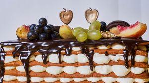 Preview wallpaper cake, chocolate, watering, fruit, dessert