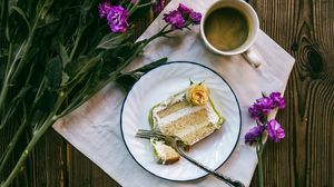 Preview wallpaper cake, coffee, flowers