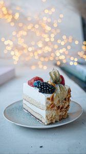 Preview wallpaper cake, dessert, berries, decoration, plate