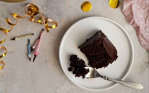 Preview wallpaper cake, dessert, chocolate, candles, plates, holiday
