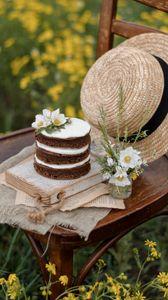 Preview wallpaper cake, dessert, jasmine, flowers, hat, still life