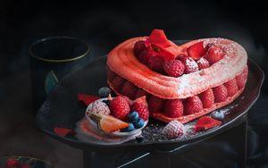 Preview wallpaper cake, heart, raspberry, dessert, pastry, sweet