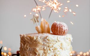Preview wallpaper cake, oranges, sparklers, decoration, festive
