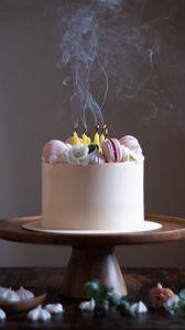 Preview wallpaper cake, pastries, dessert, candles, smoke