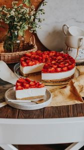 Preview wallpaper cake, pastries, strawberries, cups, bouquet