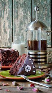 Preview wallpaper cake, pastry, dessert, coffee, crockery