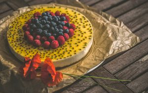 Preview wallpaper cake, raspberry, blueberries, berries, pastries, dessert