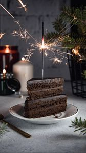 Preview wallpaper cake, sparkler, sparks, dessert