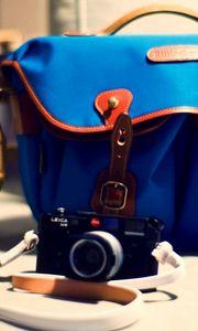 Preview wallpaper camera, bag, blue