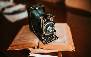 Preview wallpaper camera, equipment, book, retro, aesthetics