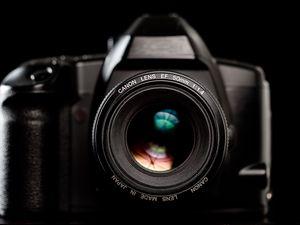 Preview wallpaper camera, objective, equipment, black