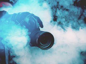 Preview wallpaper camera, photographer, smoke, color smoke