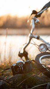 Preview wallpaper camera, vintage, retro, bicycle, walk