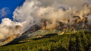 Preview wallpaper canada, banff national park, mountains, fog, grass