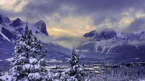 Preview wallpaper canada, mountain, alberta, banff national park, snow, winter