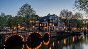 Preview wallpaper canal, buildings, bridge, amsterdam, keizersgracht