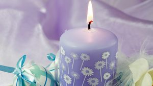 Preview wallpaper candle, eggs, feathers, flowers, easter, feast
