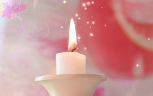 Preview wallpaper candle, fire, candlestick, pink, white