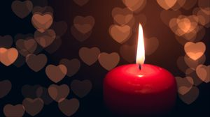 Preview wallpaper candle, heart, dark