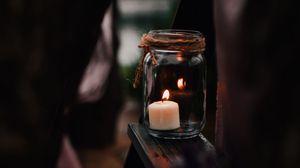 Preview wallpaper candle, jar, fire, burn, light