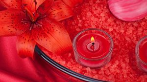 Preview wallpaper candle, salt, flower, lily