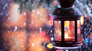 Preview wallpaper candle, torch, branch, snow, winter, snowflakes, christmas tree