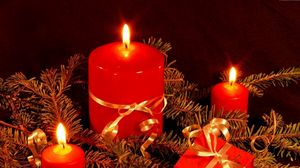 Preview wallpaper candles, thread, needles, fire, gift, holiday, christmas