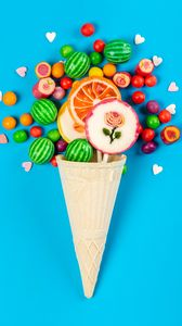 Preview wallpaper candy, lollipops, horn, sweets
