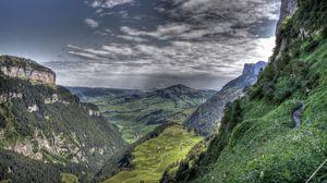Preview wallpaper canyon, mountains, rocks, clouds