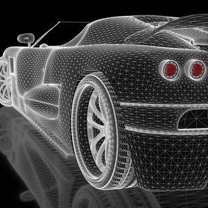 Preview wallpaper car, concept, three-dimensional, grid