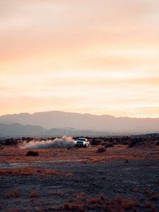 Preview wallpaper car, drift, dust, desert