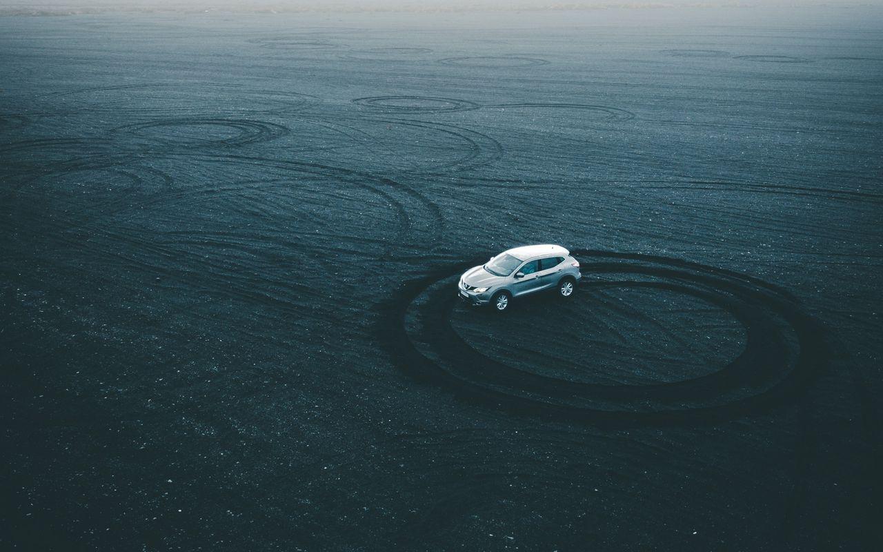 1280x800 Wallpaper car, drift, playground, sand, traces, circles