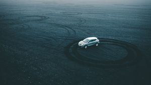 Preview wallpaper car, drift, playground, sand, traces, circles