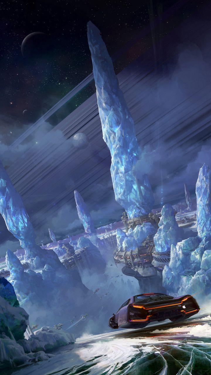 720x1280 Wallpaper car, glaciers, sci-fi, speed