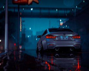 Preview wallpaper car, gray, wet, night, rain
