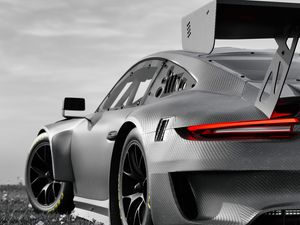 Preview wallpaper car, grey, tuning, carbon, black and white