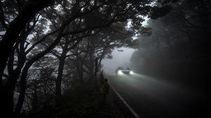 Preview wallpaper car, light, road, fog, gloomy