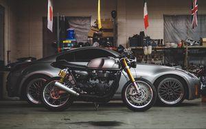 Preview wallpaper car, motorcycle, garage