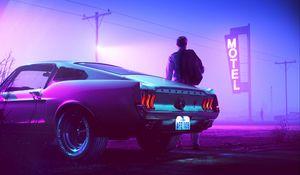Preview wallpaper car, neon, man, sign