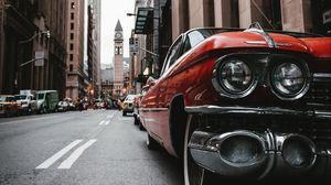 Preview wallpaper car, old, street, city, metropolis