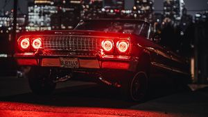 Preview wallpaper car, old, tuning, light, red