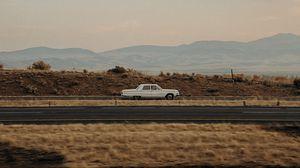 Preview wallpaper car, old, white, road, desert