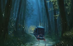 Preview wallpaper car, path, forest, trees, art
