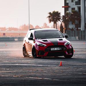Preview wallpaper car, red, drift