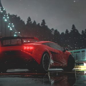 Preview wallpaper car, red, sports car, side view, lights, wet
