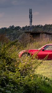 Preview wallpaper car, red, trees, nature
