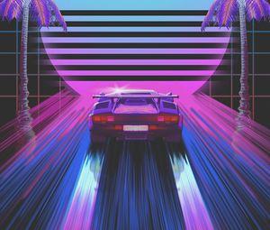 Preview wallpaper car, retro, art, 80s, neon