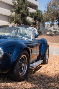Preview wallpaper car, retro, blue, parking